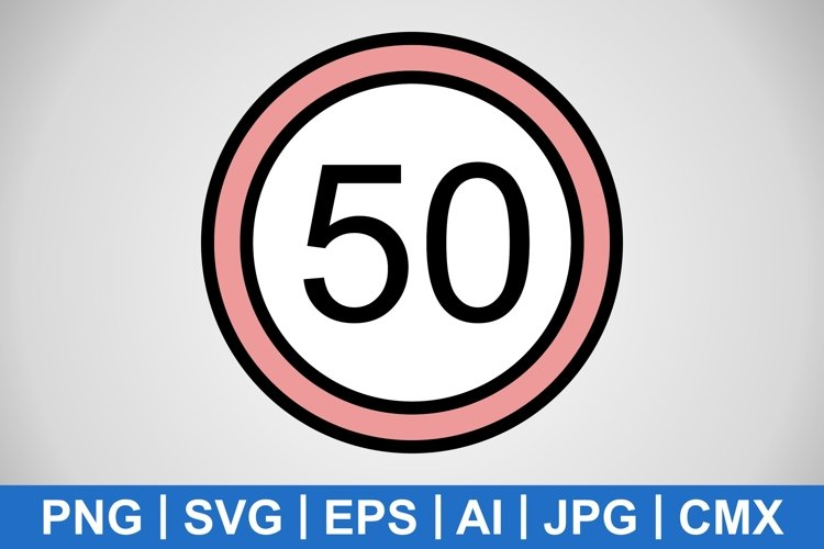 Vector Speed limit 50 Icon example image 1