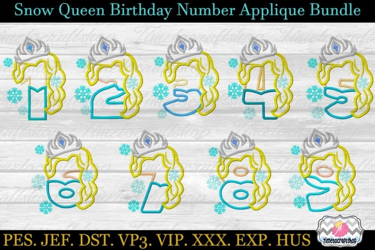 Snow Queen Birthday Number Set Applique Embroidery Design 3
