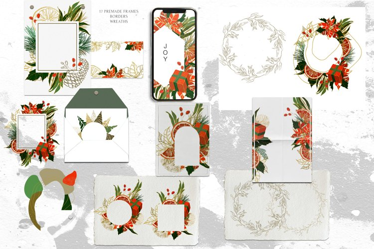 Modern Christmas Abstract Wreaths, Frames, Borders Gold Red