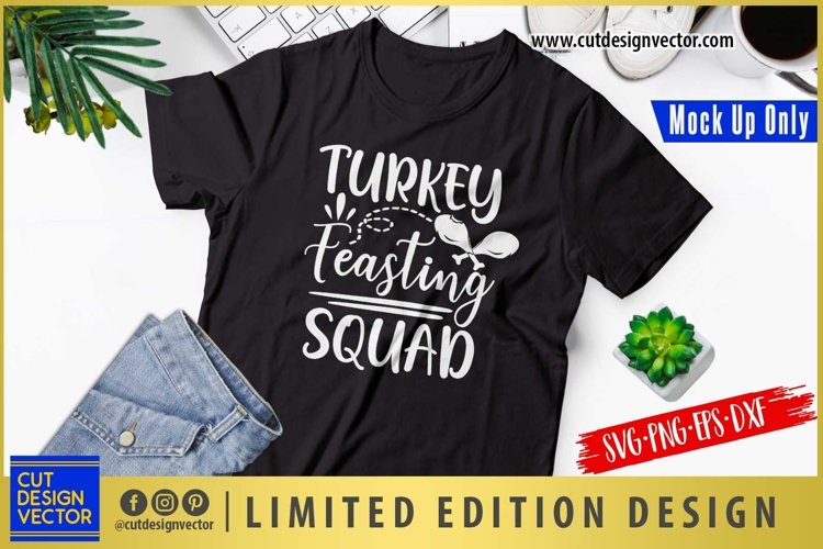 Turkey Feasting Squad SVG, Thanksgiving SVG example image 1