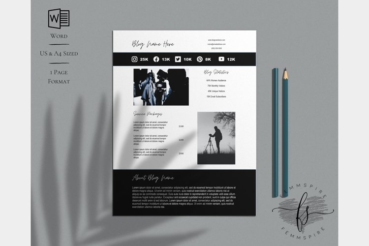 Media Kit Template, MS Word, US Letter & A4 Sizes