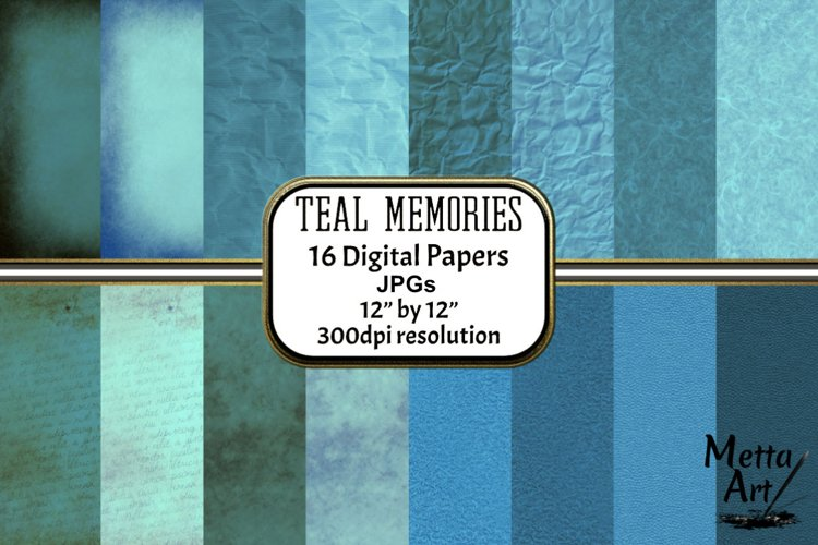 Teal Memories - 16 Digital Papers/Backgrounds example image 1