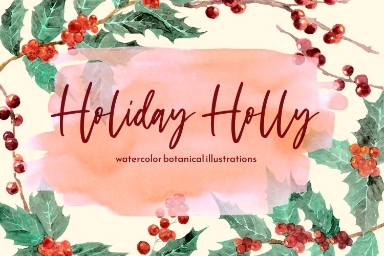 Holiday Holly PNG Watercolor Clipart, Hand painted Digital example image 1