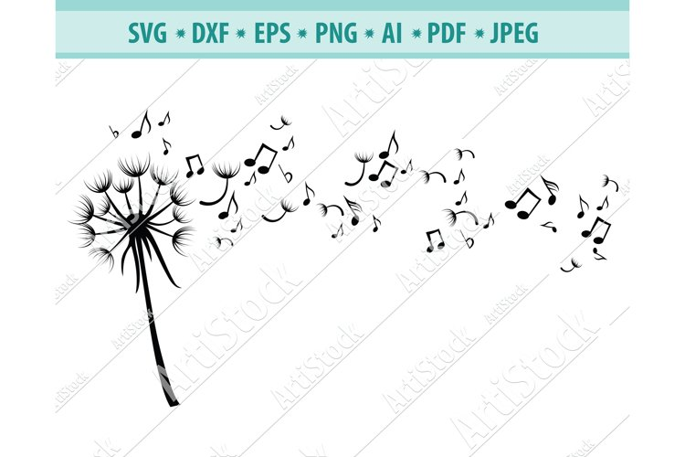 Dandelion with Notes SVG, Music svg, Notes Dxf, Png, Eps