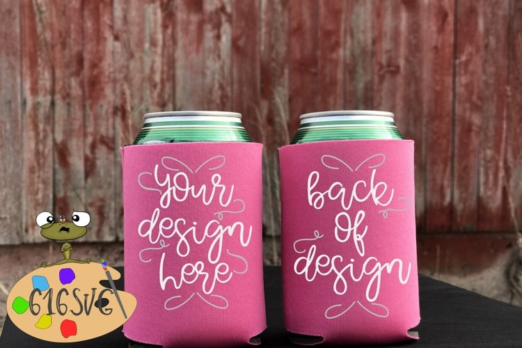 Neon Pink Can Cooler Mockup