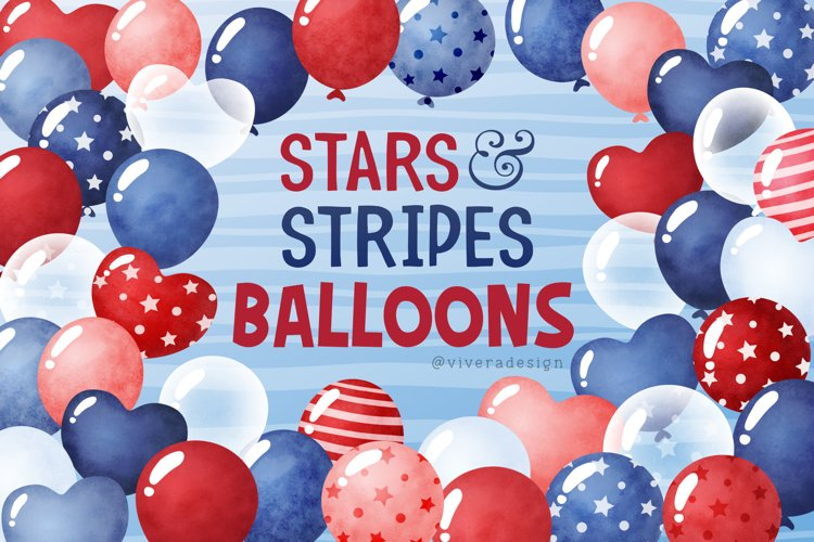 Red White Blue Watercolor Balloons Clip Art