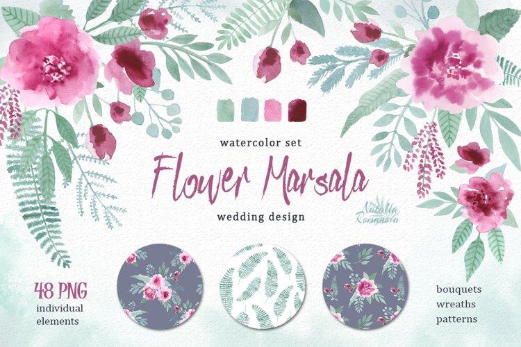 Watercolor floral marsala example image 1