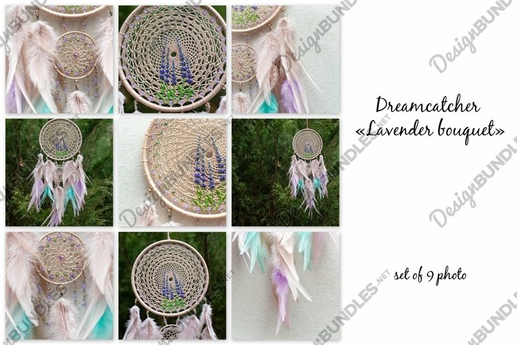 Dream catcher Lavender bouquet with feathers and beads