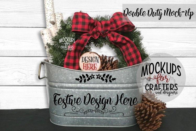 Christmas Double Duty Mock-Up Planter & Wood Ornament