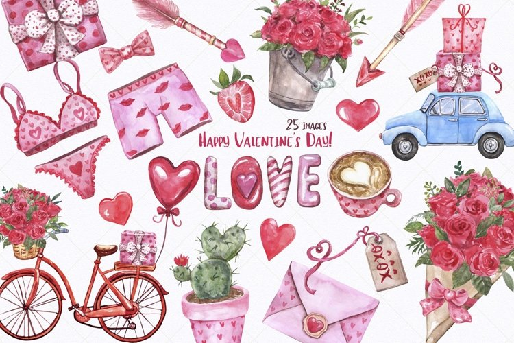 Watercolor Valentines Day Love Clipart Couple Red Pink Heart