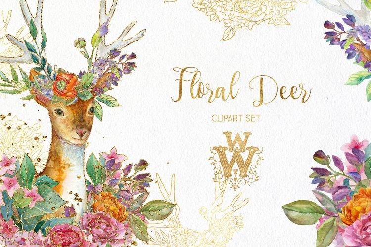 Watercolor floral deer printable clipart, golden graphics example
