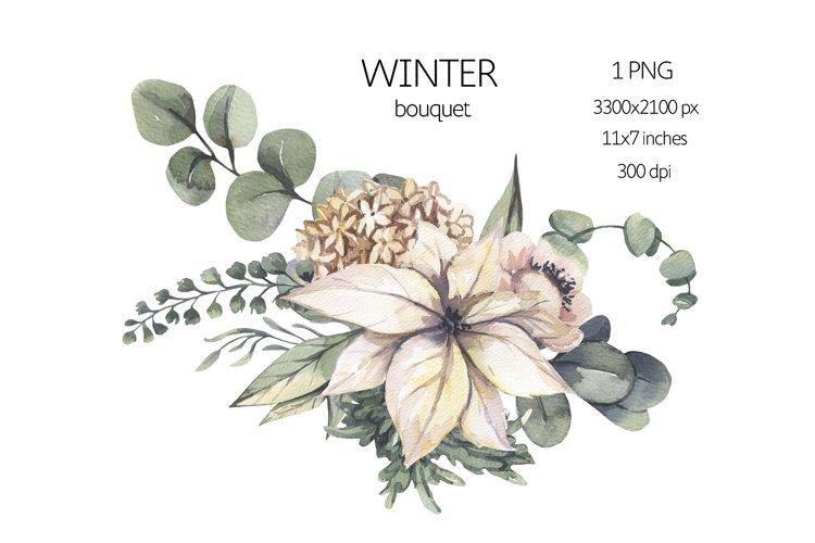 Watercolor Winter Floral Bouquet