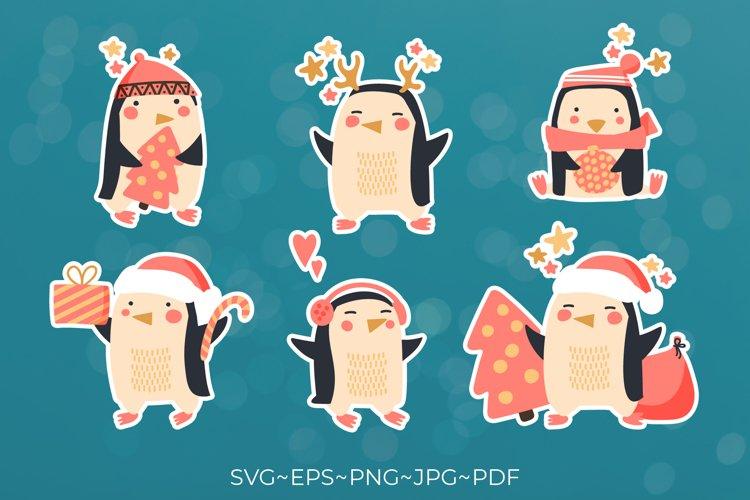 Penguin christmas Penguin bundle Merry christmas stickers example image 1