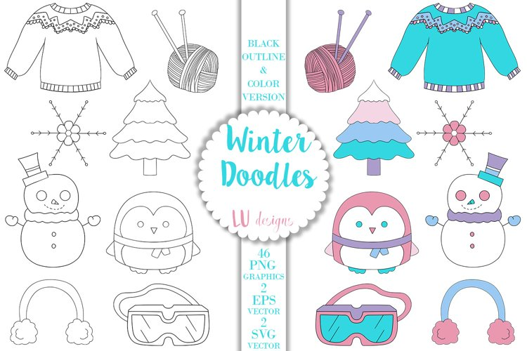 Winter Doodles Clipart, Snow Vector Doodles Graphics