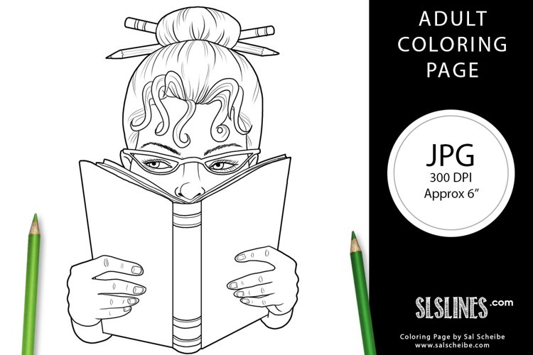 Book Lover Lady Reading Adult Coloring Page