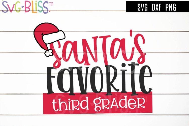 Santa's Favorite Third Grader SVG - Christmas Cut File example image 1
