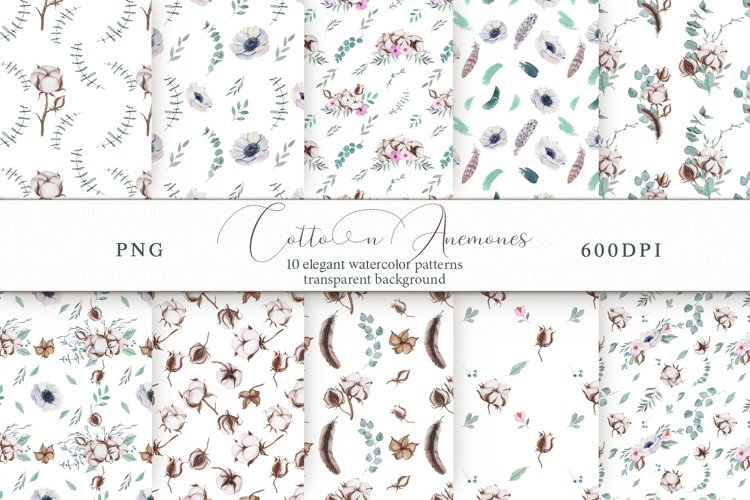 Cotton & Anemones Seamless Patterns example image 1