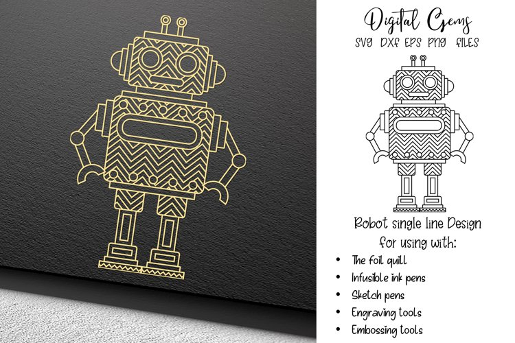 Robot single line sketch file / foil quill / engraving file.
