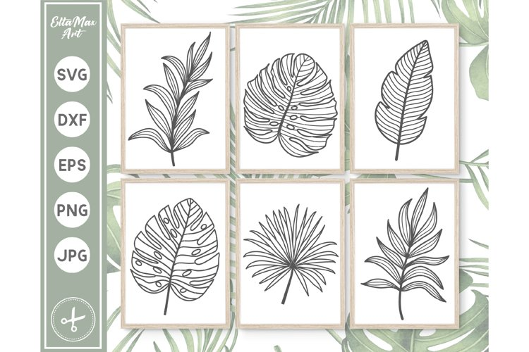 Tropical Leaves SVG, Hand Drawn clipart, Palm Leaves SVG PNG example image 1