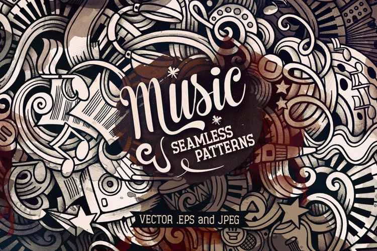 5 Music Doodles Graphics Patterns example image 1