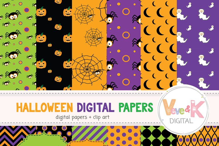 Halloween Digital Papers Cute Halloween Digital Papers Kids Halloween Papers Happy Halloween Papers Spooky Digital Paper Commercial Use 75166 Patterns Design Bundles
