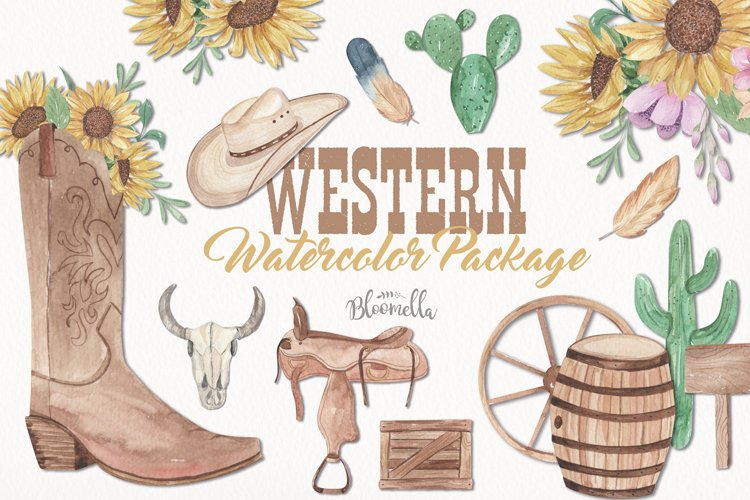 Western Watercolor Clipart Cactus Cowgirl Cowboy Boots Hat