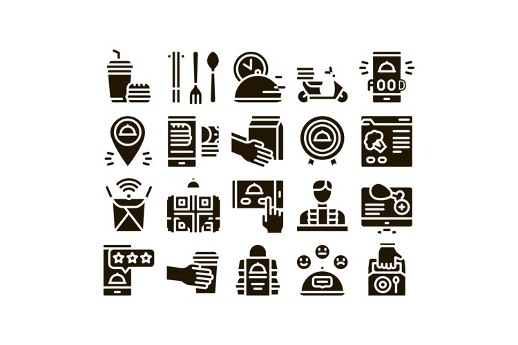 Food Delivery Service Glyph Set Vector example image 1