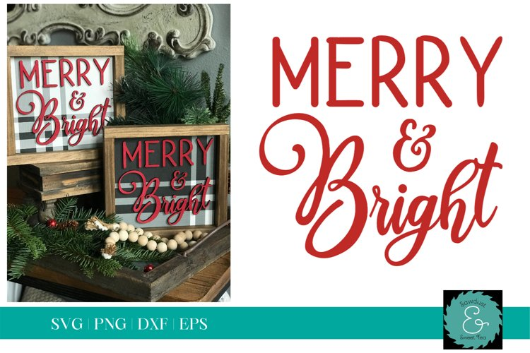 Merry and Bright SVG, Christmas SVG, Glowforge SVG example image 1