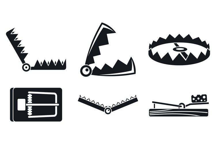 Trap catch icons set, simple style example image 1