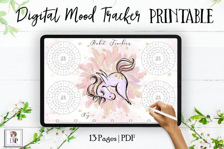 Digital Habit Trackers Y8 Yoga Series for Planner PRINTABLE example image 1