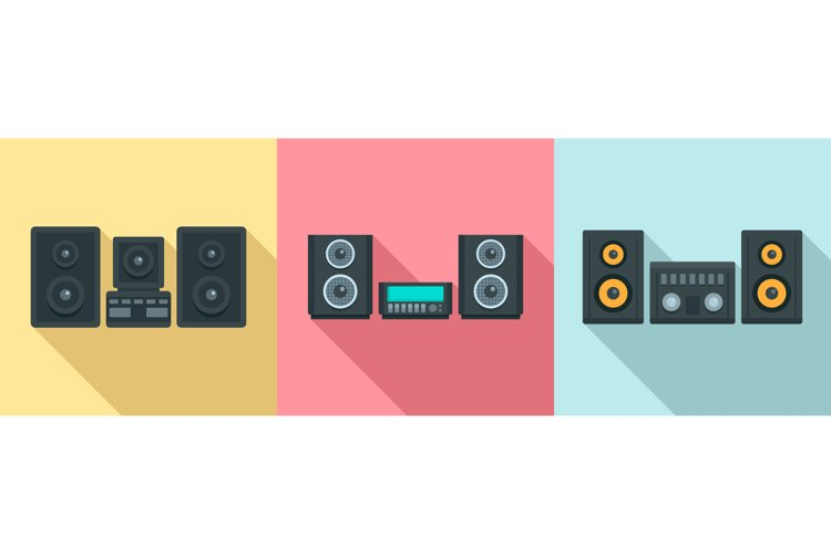 Stereo system icons set, flat style example image 1