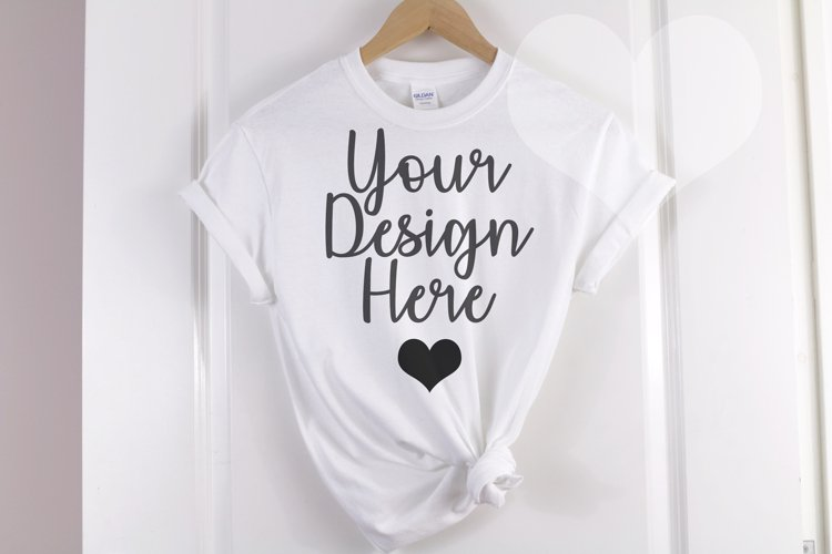 White Gildan 500 T shirt Unisex - Hanging Mockup