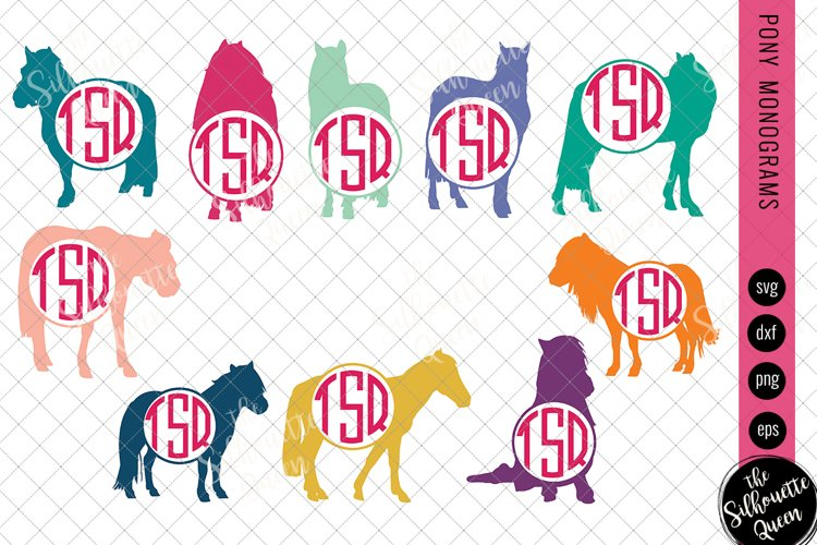 Pony Svg, Monogram Svg, Circle Frames, Cuttable Design example image 1