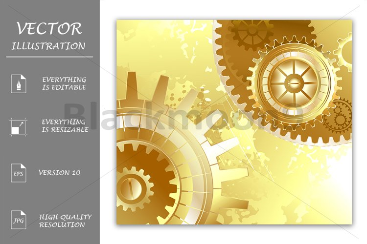 Old Background with Gold Gears ( Steampunk ) example image 1