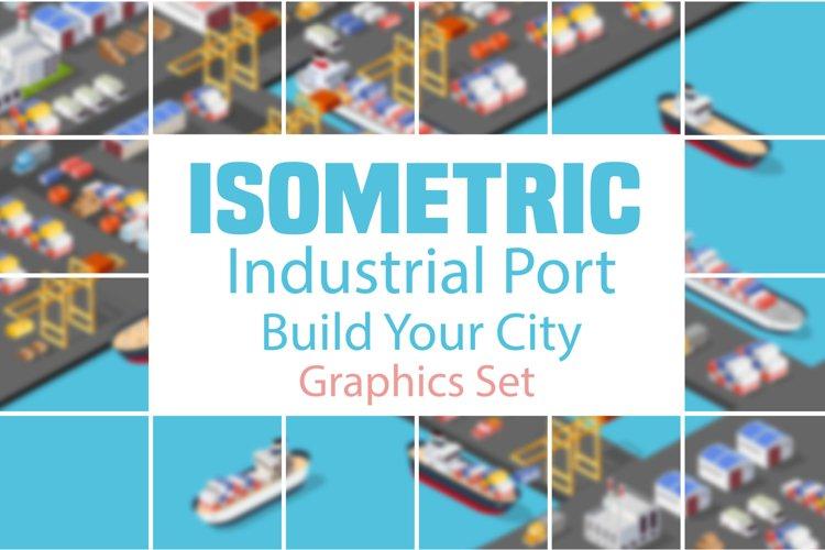 Isometric port cargo ship