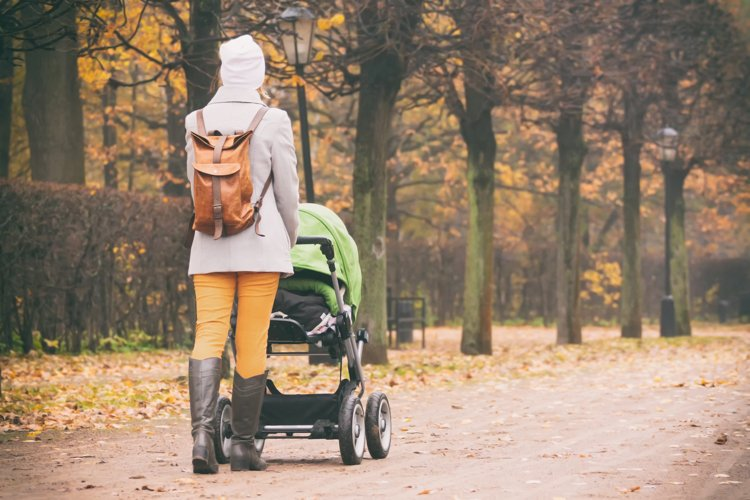 Rear view of mother walking with stroller in park