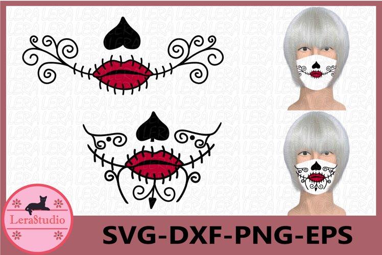 Sugar Skull Face Mask Svg, Skull Mask Svg, Sugar Skull Svg