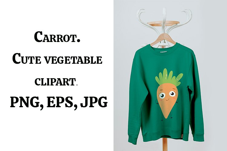 Carrot. Cute vegetable clipart. PNG, EPS, JPG