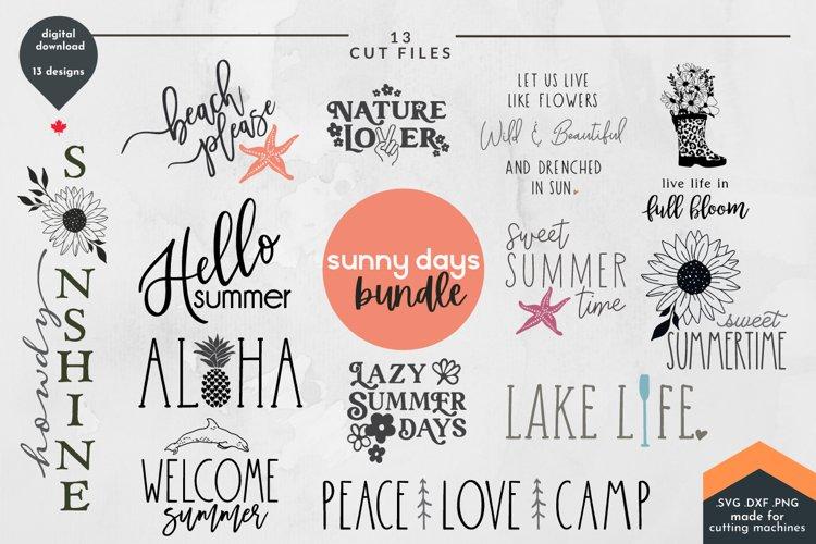 Summer SVG Bundle - Sunshine Cut Files, 13 designs