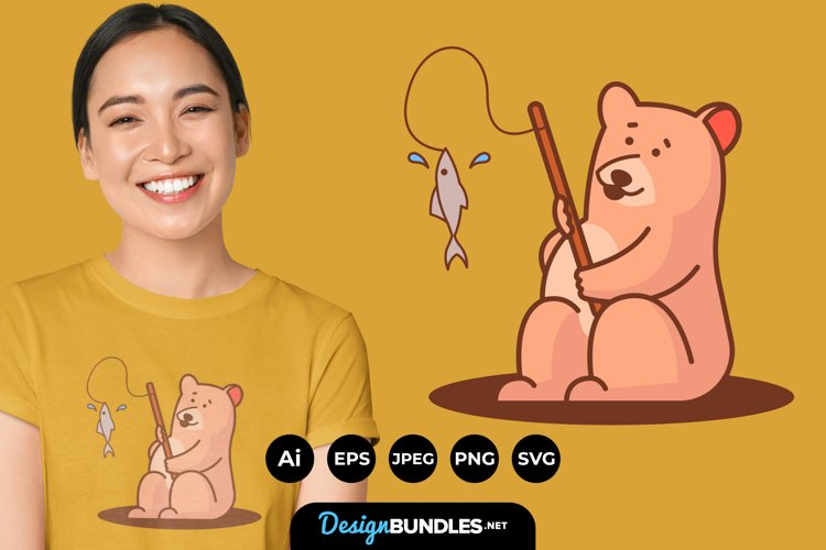 Cute Bear Illustration for T-Shirt Design example image 1