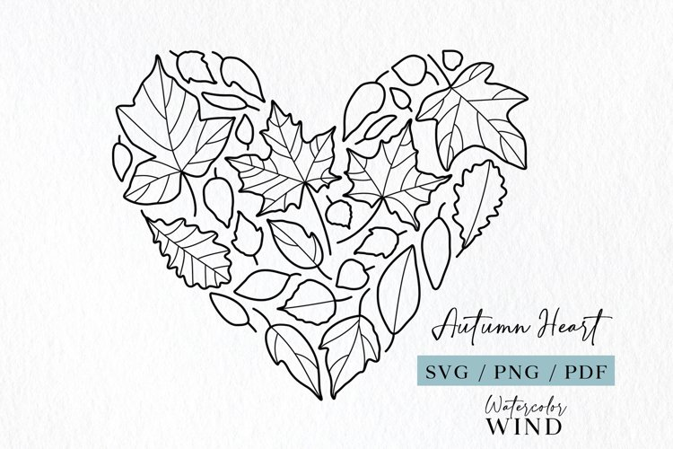 Fall leaves svg heart clipart, line drawing leaf heart file