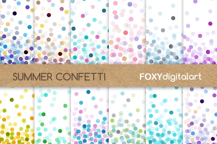 Confetti Digital Paper Pack Wedding Throw Some Confetti example image 1