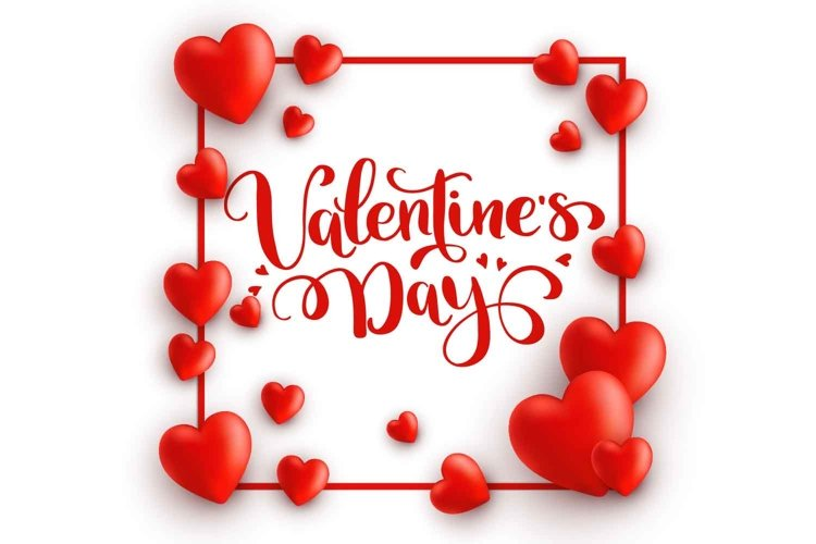 St. Valentine's template with hearts frame and lettering example image 1