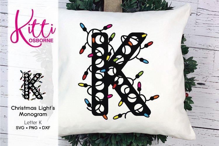Christmas Lights Monogram Letter K example image 1