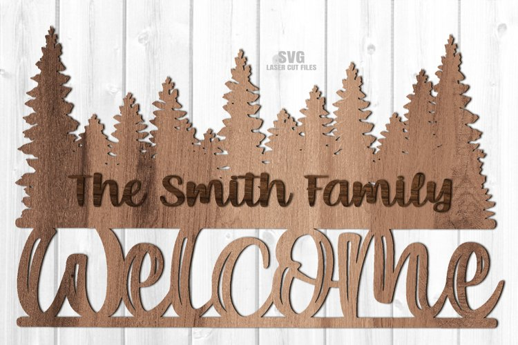 Monogram Forest Welcome Sign SVG Glowforge Laser Cut Files