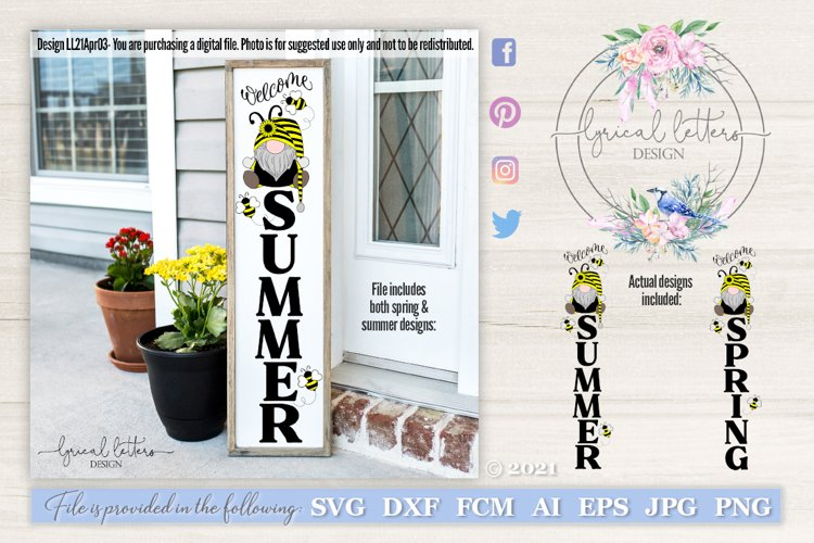 Bee Gnome Welcome Spring and Summer Porch Sign SVG LL21Apr03