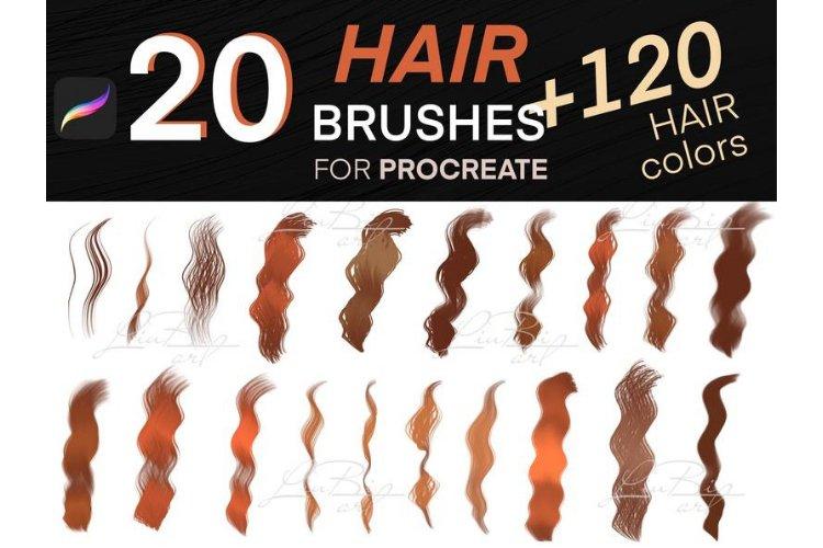 20 Procreate Hair Brushes Set. 120 COLORS pallete. Fashion