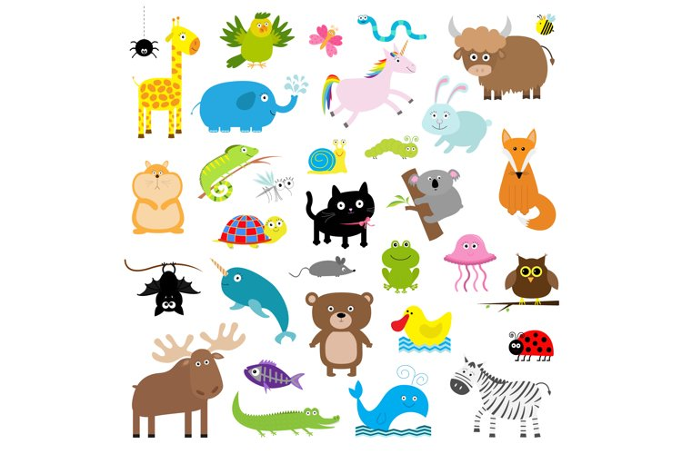 Zoo animal set. Flat design. Vector example image 1