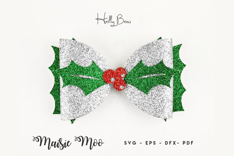 Christmas Hair Bow Template SVG, Holly Bow SVG, Festive Bow example image 1