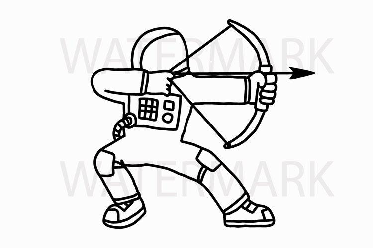 Astronaut Shooting Arrow - SVG/JPG/PNG Hand Drawing example image 1